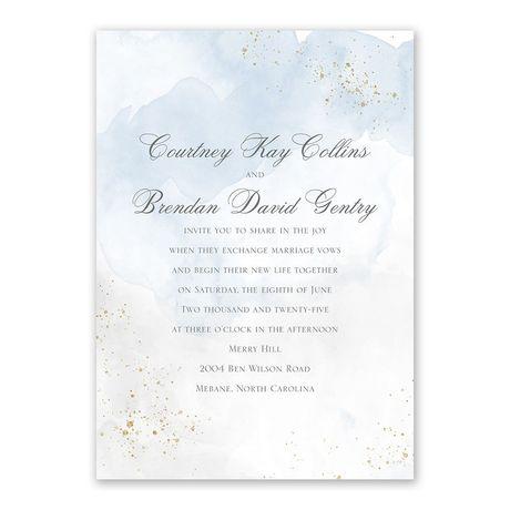 Sweetly Serene Blue Invitation with Free Response Postcard