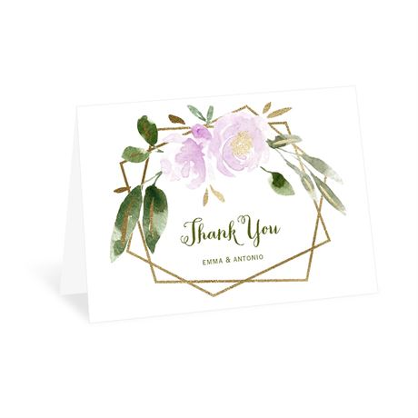 Modern Floral Wisteria Thank You Card