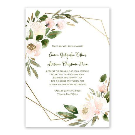 Modern Floral Powder Invitation with Free Response Postcard