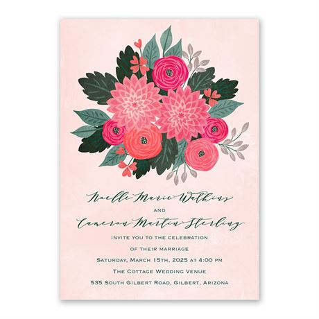 Bright Bouquet Invitation with Free Response Postcard