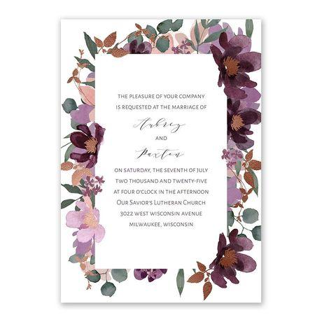 Posh Petals Mulberry Invitation with Free Response Postcard