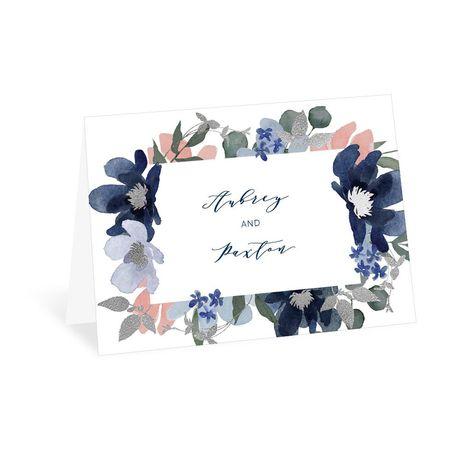 Posh Petals Navy Thank You Card