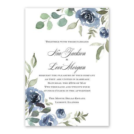 Slate Rose Invitation with Free Response Postcard