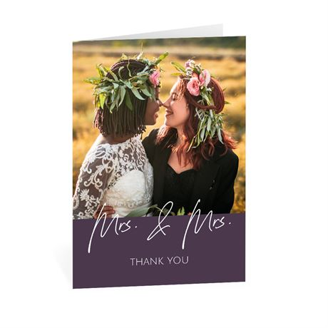 Happy Couple Mrs and Mrs Thank You Card
