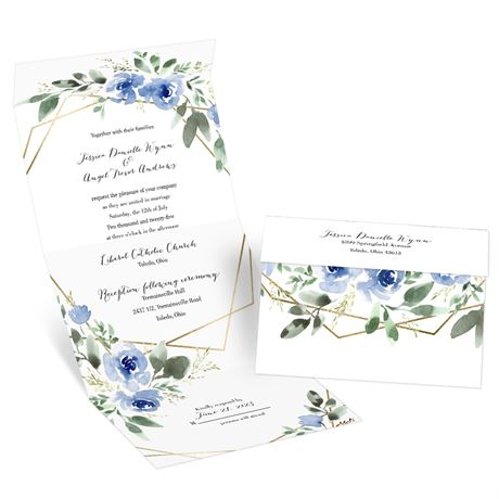Blooming Geo Periwinkle Seal and Send Invitation