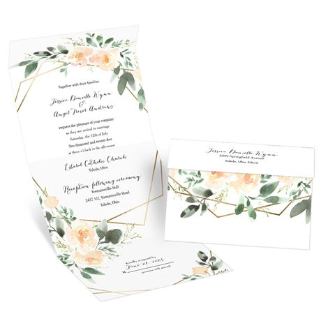 Blooming Geo Peach Seal and Send Invitation