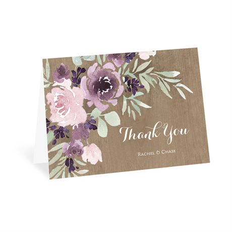 Rustic Beauty Plum Thank You Card