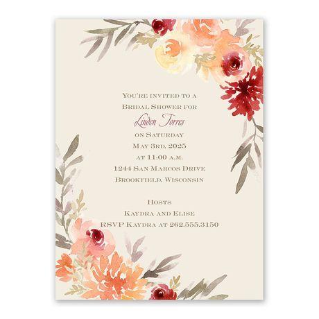 Apricot Floral Bridal Shower Invitation