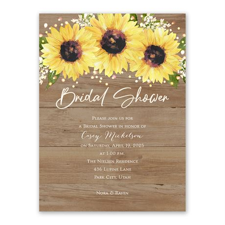 Sweet Sunflowers Bridal Shower Invitation