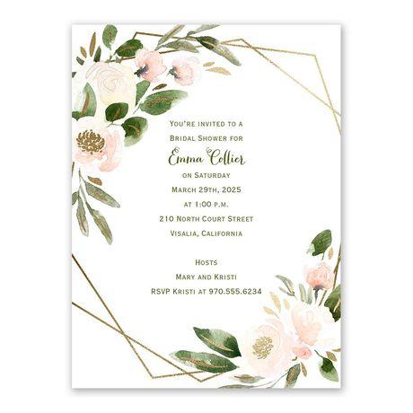 Modern Floral Powder Bridal Shower Invitation