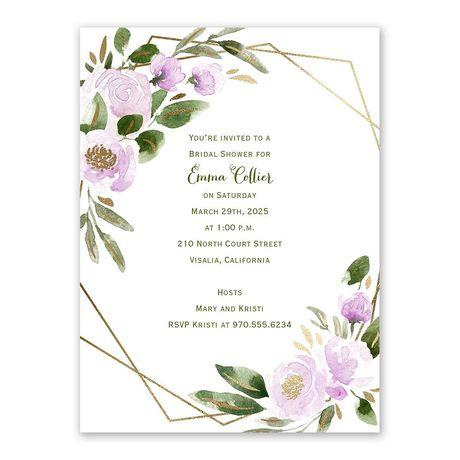 Modern Floral Wisteria Bridal Shower Invitation