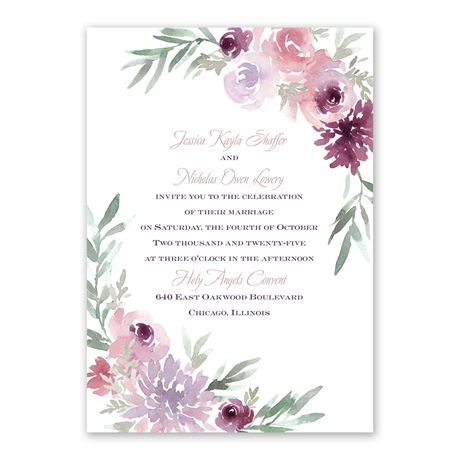 Blooming Plum Invitation with Free Response Postcard