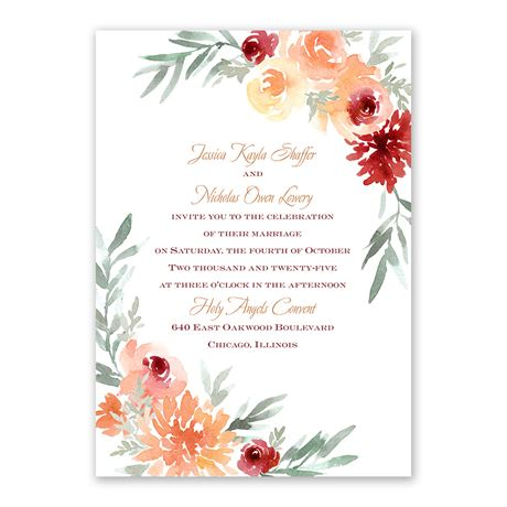 Blooming Peach Invitation with Free Response Postcard