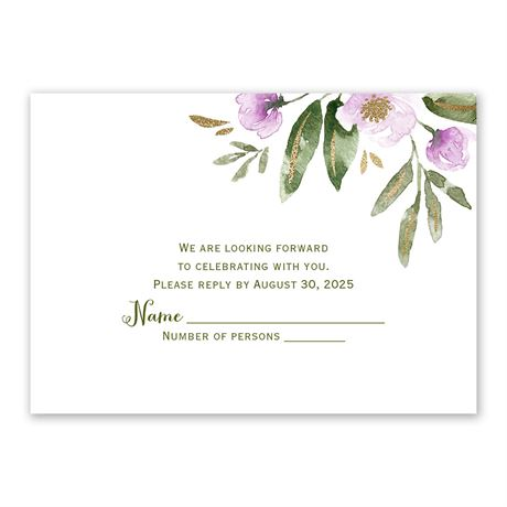 Modern Floral Wisteria Response Card