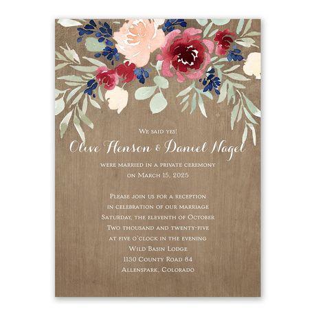 Natural Blooms Reception Invitation