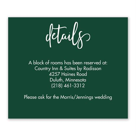 We Tied the Knot Information Card