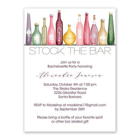Stock the Bar Bachelorette Party Invitation