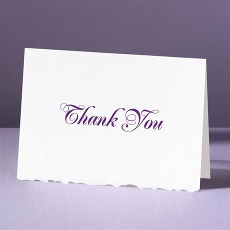 White Deckle Edge  - Thank You Card and Envelope