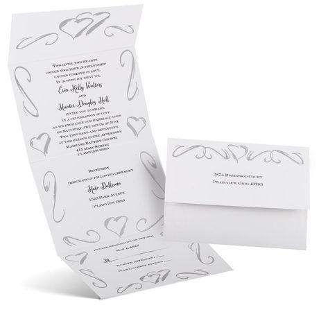 Hearts in Silver - Seal and Send Invitation