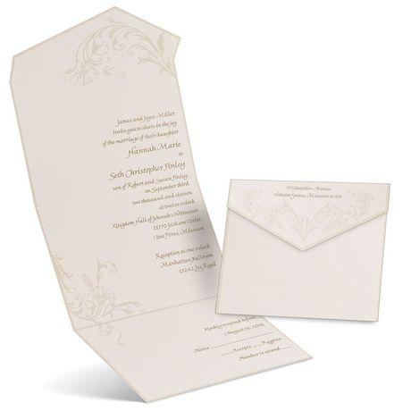 Pearl Flourish Ecru Seal and Send Invitation