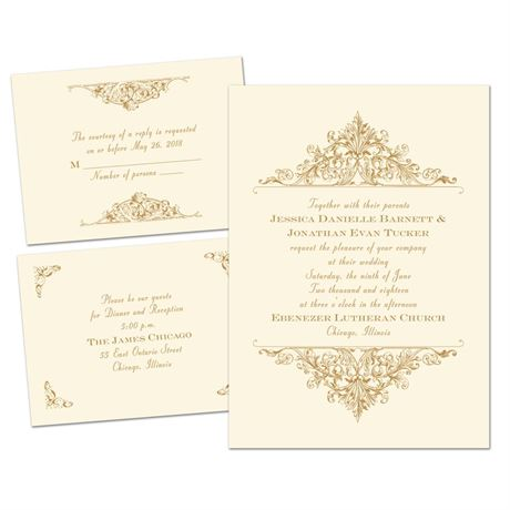 Vintage Victorian - Ecru - Separate and Send Invitation