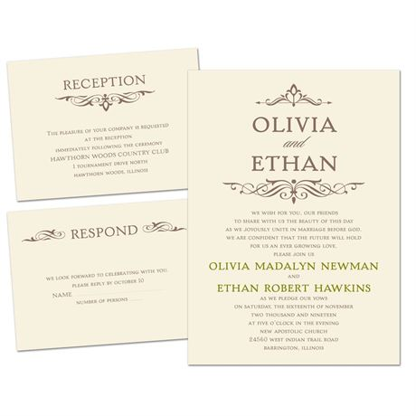 Simply Stylish - Ecru - Separate and Send Invitation