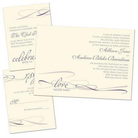 Everlasting Love - Ecru - Separate and Send Invitation