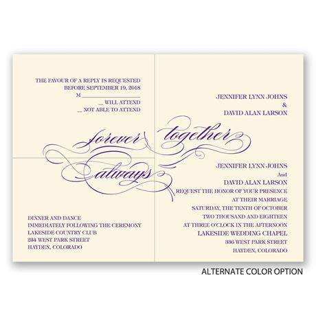 Forever & Always - Ecru - Separate and Send Invitation