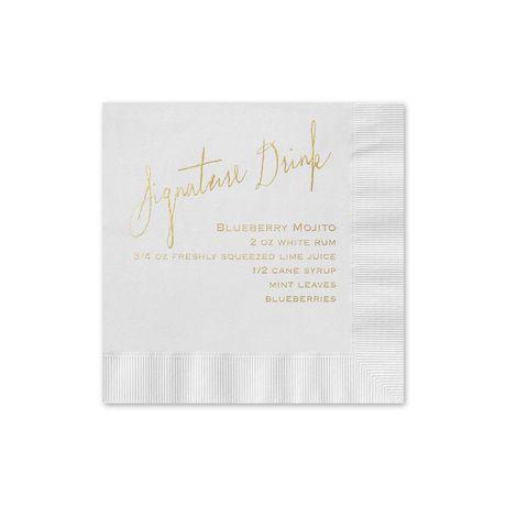 Signature Drink - White - Foil Cocktail Napkin