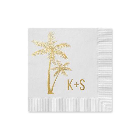Palm Trees - White - Foil Cocktail Napkin