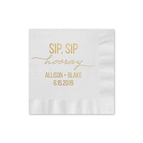 Sip, Sip Hooray - White - Foil Cocktail Napkin