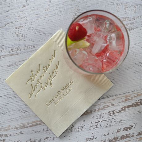 The Adventure Begins - Ecru - Foil Cocktail Napkin