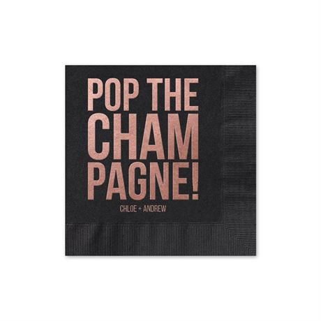 Pop the Champagne - Black - Foil Cocktail Napkin
