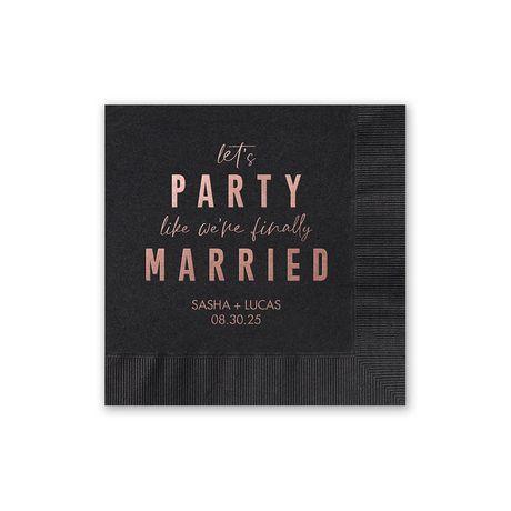 Party Time - Black - Foil Cocktail Napkin