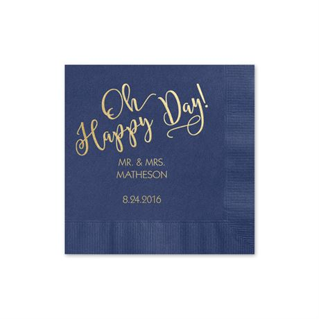 Oh Happy Day - Navy - Foil Cocktail Napkin