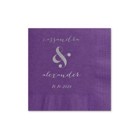Modern Glow - Purple - Foil Cocktail Napkin