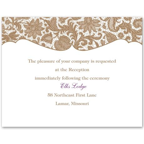 Lace Trim Reception Card