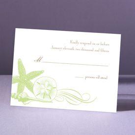 Starfish and Seashells - Pear - Response Card and Envelope