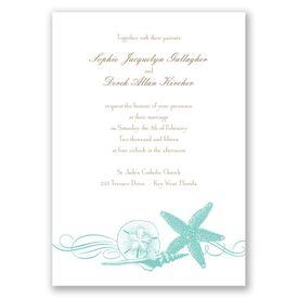 Starfish and Seashells - Lagoon - Invitation