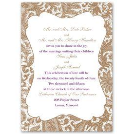 Wedding Invitations: Lace Trim  Invitation
