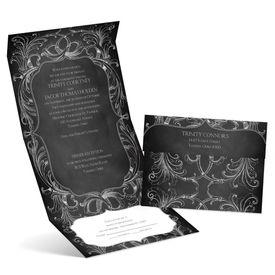 Wedding Invitations: Chalkboard Flourish  Seal and Send Invitation
