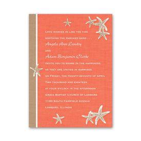 Wedding Invitations: Starfish and Linen  Petite Invitation