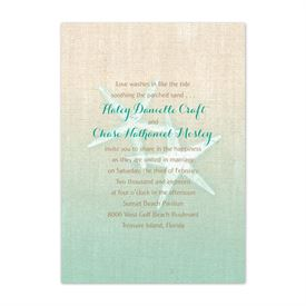 Starfish and Burlap  Invitation