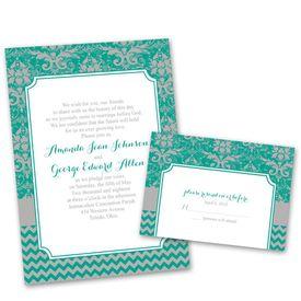 Elegant Wedding Invitations: Elegant Patterns  Invitation with Free Response Postcard