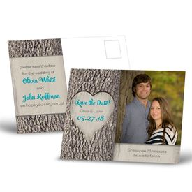 Save the Dates: Carved Heart  Save the Date Postcard