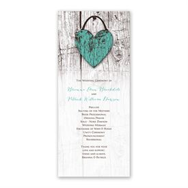 Wood Heart Wedding Program