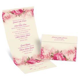 Blushing Blooms - Ecru - Seal and Send Invitation