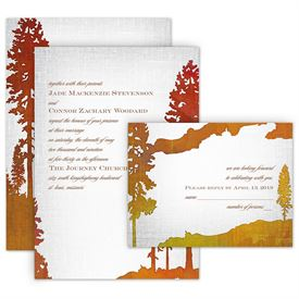 Watercolor Wedding Invitations: Lakeside Invitation with Free Respond Postcard