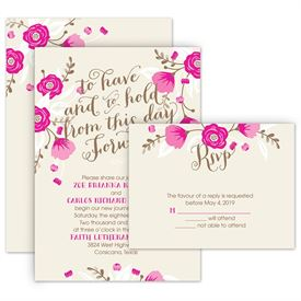 Floral Wedding Invitations: Floral Romance Invitation with Free Respond Postcard