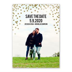 Gold Confetti Save the Date Card